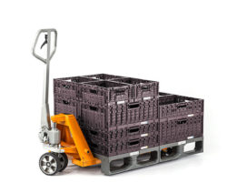 Plastic pallets on the forklift trolley
