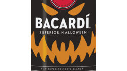 A bottle of Bacardi with its spooky Halloween label.