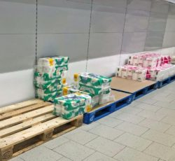 Toilet paper on pallets